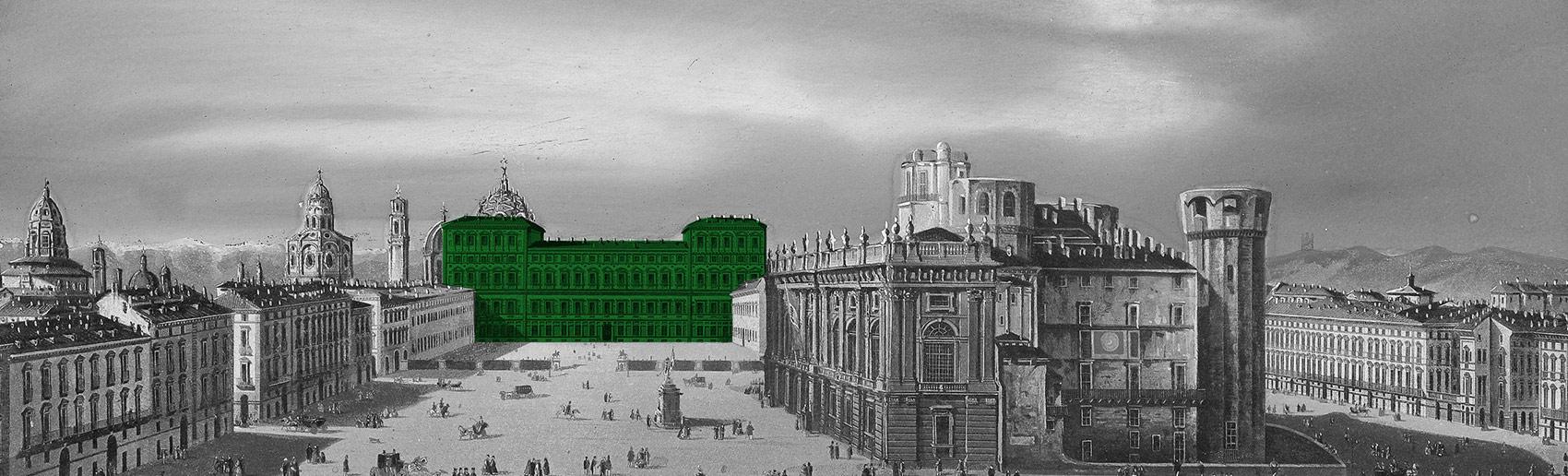 Dipinto - veduta storica di Piazza Castello, Torino